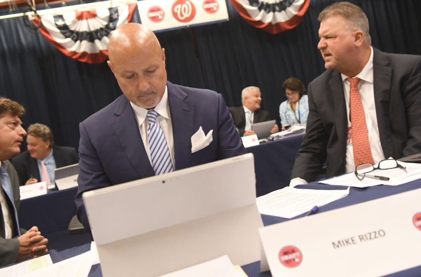 WASHINGTON, DC - JUNE 12: Washington Nationals General Manager & President of Baseball Operations Mike Rizzo in the war room during the draft at Nationals Park on June 12, 2017 in Washington, DC. (Photo by Mitchell Layton/Getty Images)