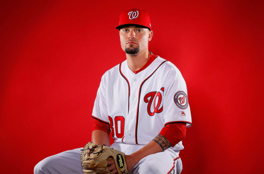 WEST PALM BEACH, FL - FEBRUARY 22: Koda Glover #30 of the Washington Nationals poses for a photo during photo days at The Ballpark of the Palm Beaches on February 22, 2018 in West Palm Beach, Florida. (Photo by Kevin C. Cox/Getty Images)