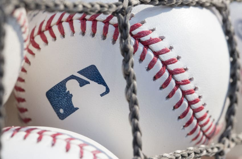 PHILADELPHIA, PA - JUNE 28: A baseball with MLB logo is seen at Citizens Bank Park before a game between the Washington Nationals and Philadelphia Phillies on June 28, 2018 in Philadelphia, Pennsylvania. (Photo by Mitchell Leff/Getty Images)