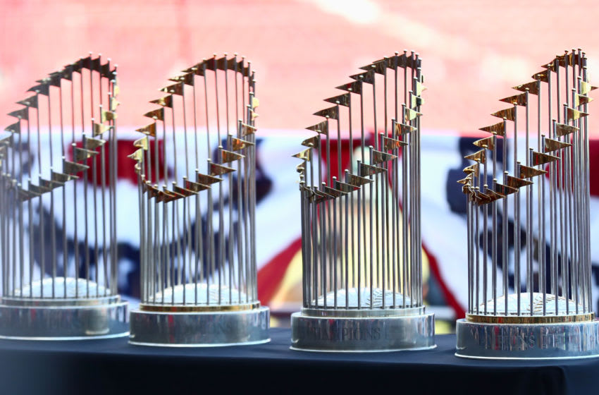 BOSTON, MA - OCTOBER 31: The Boston Red Sox World Series Trophies on display at Fenway Park before the Victory Parade around Boston on October 31, 2018 in Boston, Massachusetts. (Photo by Omar Rawlings/Getty Images)