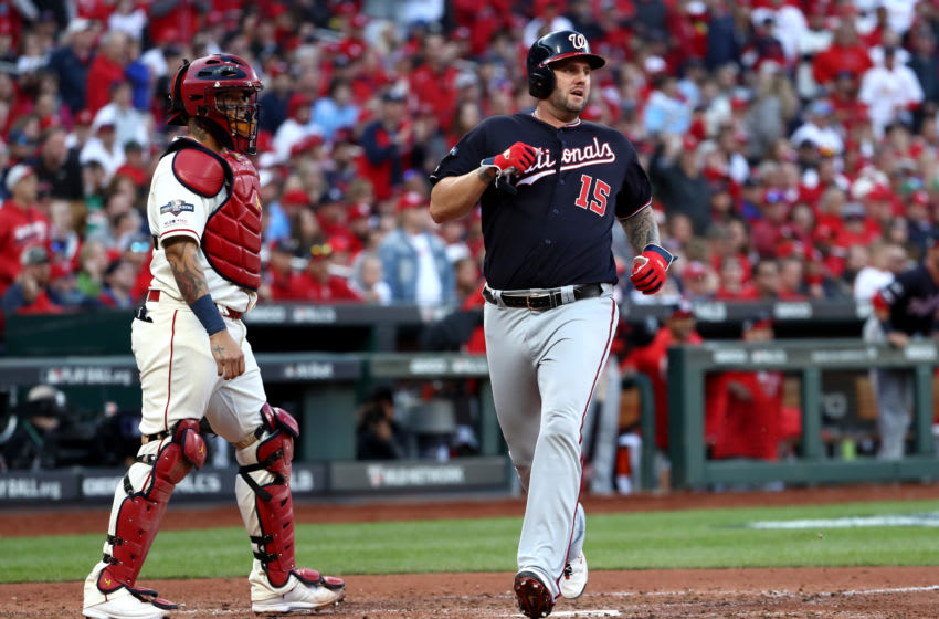 Matt Adams of the Washington Nationals scores on a double by Adam Eaton #2 during the eighth inning of game two of the National League Championship Series against the St. Louis Cardinals (Photo by Jamie Squire/Getty Images)