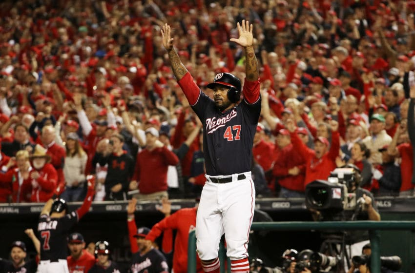 WASHINGTON, DC - OCTOBER 15: Howie Kendrick #47 of the Washington Nationals (Photo by Patrick Smith/Getty Images)