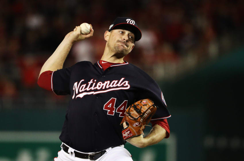WASHINGTON, DC - OCTOBER 15: Daniel Hudson #44 of the Washington Nationals delivers a pitch against the St. Louis Cardinals during game four of the National League Championship Series at Nationals Park on October 15, 2019 in Washington, DC. (Photo by Patrick Smith/Getty Images)