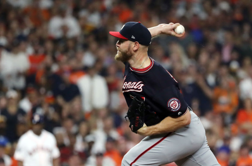 HOUSTON, TEXAS - OCTOBER 23: Stephen Strasburg #37 of the Washington Nationals delivers the pitch during the fifth inning against the Houston Astros in Game Two of the 2019 World Series at Minute Maid Park on October 23, 2019 in Houston, Texas. (Photo by Elsa/Getty Images)