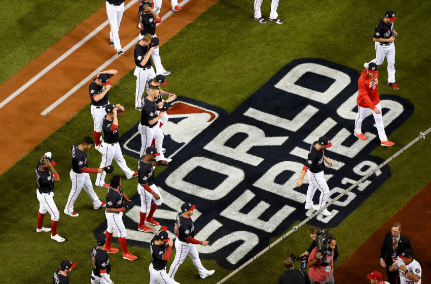 WASHINGTON, DC - OCTOBER 25: The Washington Nationals are introduced prior to Game Three of the 2019 World Series against the Houston Astros at Nationals Park on October 25, 2019 in Washington, DC. (Photo by Will Newton/Getty Images)