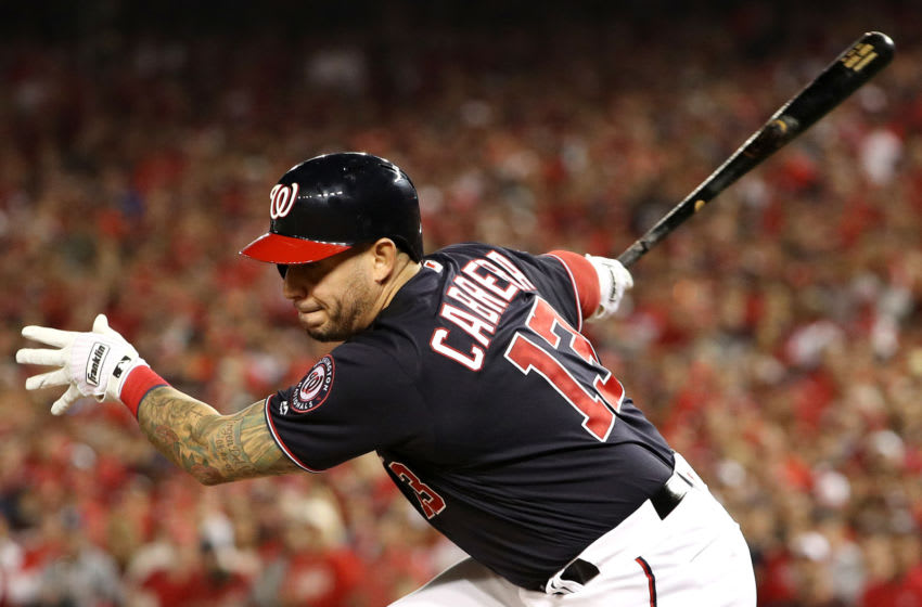 WASHINGTON, DC - OCTOBER 25: Asdrubal Cabrera #13 of the Washington Nationals strikes out against the Houston Astros during the third inning in Game Three of the 2019 World Series at Nationals Park on October 25, 2019 in Washington, DC. (Photo by Patrick Smith/Getty Images)