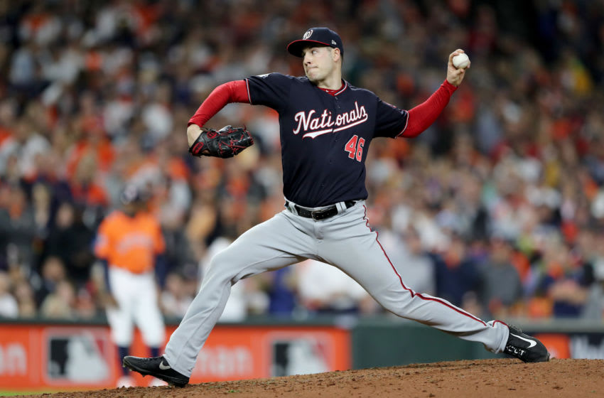 HOUSTON, TEXAS - OCTOBER 30: Patrick Corbin #46 of the Washington Nationals delivers the pitch against the Houston Astros during the sixth inning in Game Seven of the 2019 World Series at Minute Maid Park on October 30, 2019 in Houston, Texas. (Photo by Elsa/Getty Images)