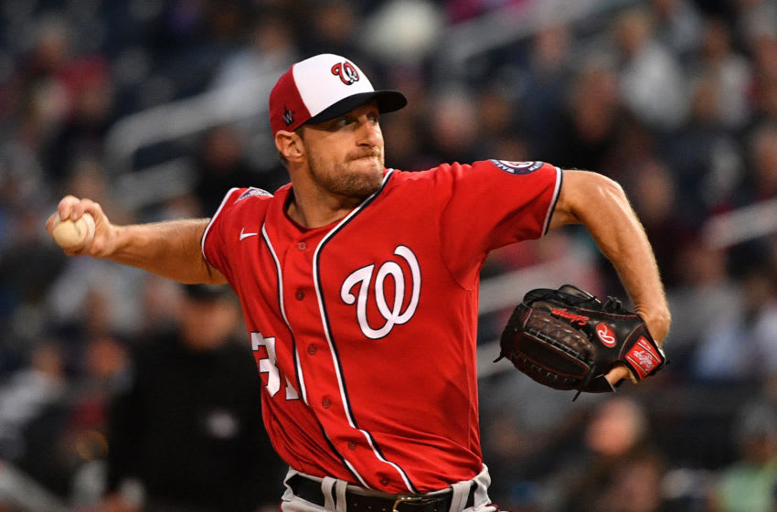 Max Scherzer #31 of the Washington Nationals delivers a pitch. (Photo by Mark Brown/Getty Images)