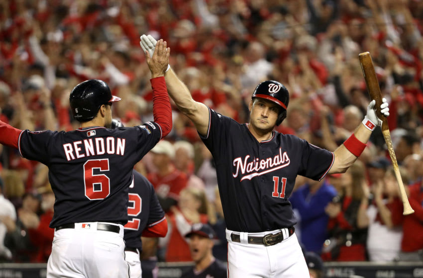 Ryan Zimmerman of the Washington Nationals celebrates with Anthony Rendon (Photo by Patrick Smith/Getty Images)