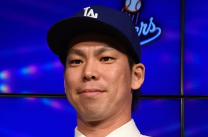 Jan 7, 2016; Los Angeles, CA, USA; Kent Maeda addresses the media at a Los Angeles Dodgers press conference to announce the signing of the Japanese pitcher to an eight-year contract at Dodger Stadium. Mandatory Credit: Kirby Lee-USA TODAY Sports