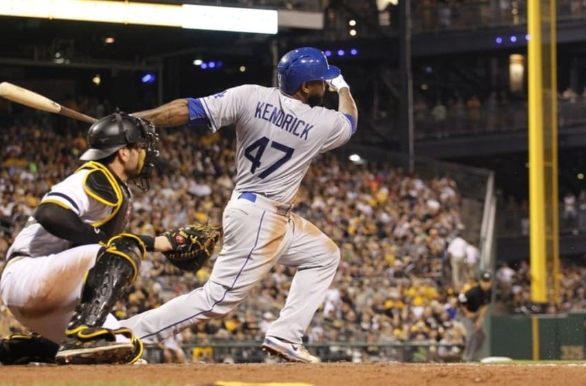 Aug 9, 2015; Pittsburgh, PA, USA; Los Angeles Dodgers second baseman Howie Kendrick (47) hits an infield single against the Pittsburgh Pirates during the fifth inning at PNC Park. Mandatory Credit: Charles LeClaire-USA TODAY Sports