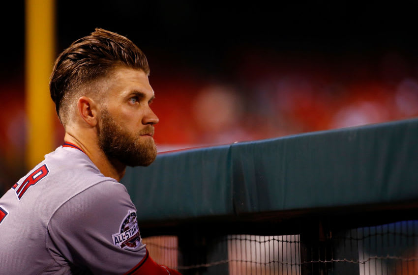 ST. LOUIS, MO - AUGUST 16: Bryce Harper #34 of the Washington Nationals looks on from the dugout during a game against the St. Louis Cardinals at Busch Stadium on August 16, 2018 in St. Louis, Missouri. (Photo by Dilip Vishwanat/Getty Images)
