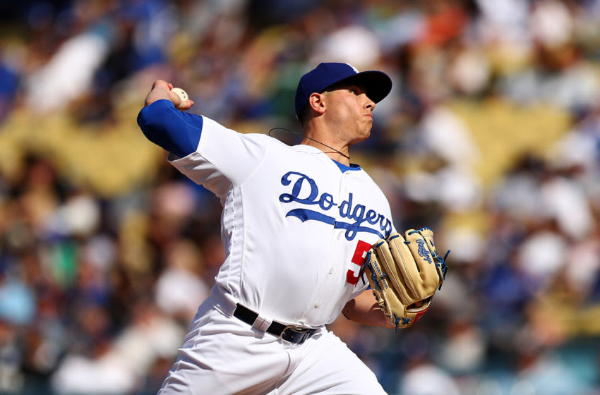 LOS ANGELES, CALIFORNIA - APRIL 14: Jaime Schultz #50 of the Los Angeles Dodgers throws a pitch against the Milwaukee Brewers during the ninth inning at Dodger Stadium on April 14, 2019 in Los Angeles, California. (Photo by Yong Teck Lim/Getty Images)