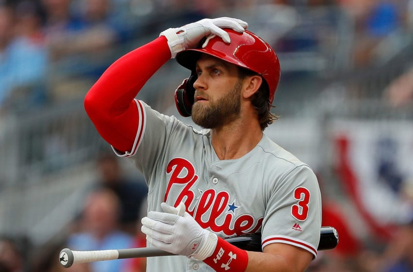 ATLANTA, GEORGIA - JULY 03: Bryce Harper #3 of the Philadelphia Phillies stands at the plate in the first inning against the Atlanta Braves at SunTrust Park on July 03, 2019 in Atlanta, Georgia. (Photo by Kevin C. Cox/Getty Images)