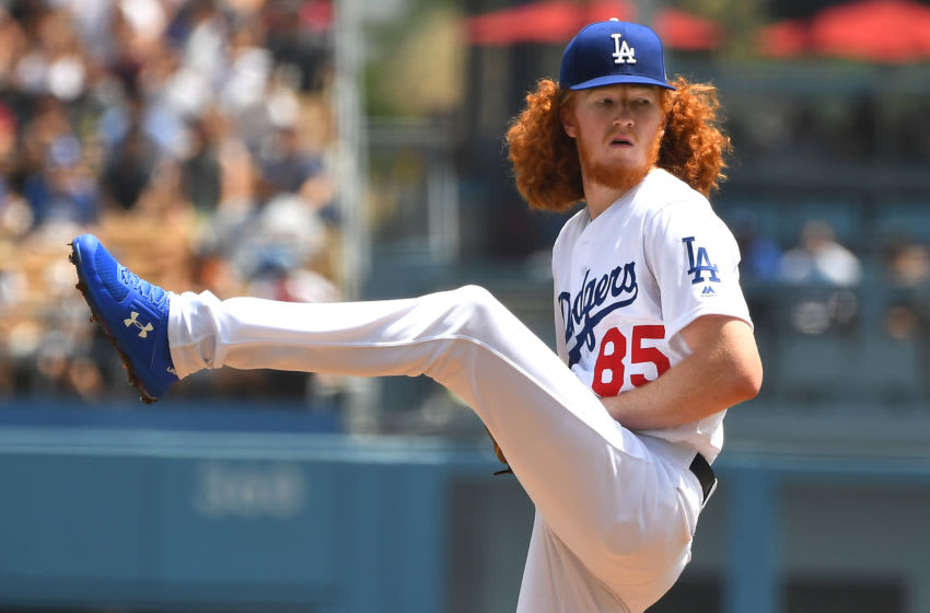 LOS ANGELES, CA - AUGUST 07: Dustin May #85 of the Los Angeles Dodgers pitches in the first inning of the game against the St. Louis Cardinals at Dodger Stadium on August 7, 2019 in Los Angeles, California. (Photo by Jayne Kamin-Oncea/Getty Images)