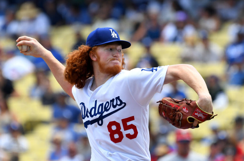 LOS ANGELES, CA - AUGUST 07: Dustin May #85 of the Los Angeles Dodgers pitches in the second inning of the game against the St. Louis Cardinals at Dodger Stadium on August 7, 2019 in Los Angeles, California. (Photo by Jayne Kamin-Oncea/Getty Images)