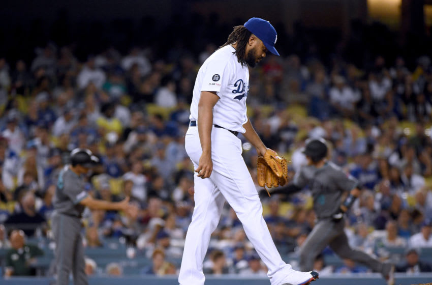 LOS ANGELES, CALIFORNIA - AUGUST 09: Kenley Jansen #74 of the Los Angeles Dodgers reacts to a two run homerun from Carson Kelly #18 of the Arizona Diamondbacks, to tie the game 2-2, during the ninth inning at Dodger Stadium on August 09, 2019 in Los Angeles, California. (Photo by Harry How/Getty Images)