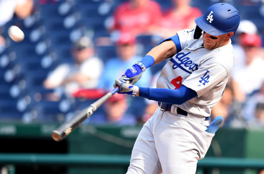 WASHINGTON, DC - JULY 28: Matt Beaty #45 of the Los Angeles Dodgers takes a swing during a baseball game against the Washington Nationals at Nationals Park on July 28, 2019 in Washington, DC. (Photo by Mitchell Layton/Getty Images)