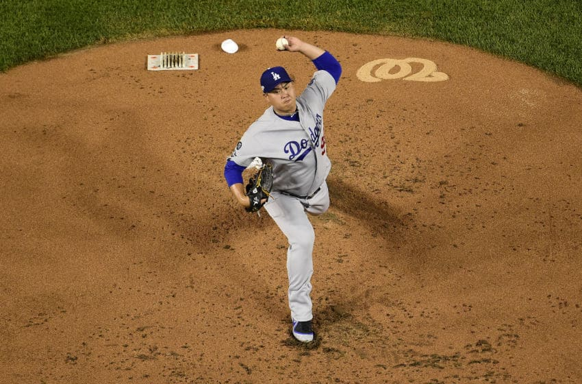 WASHINGTON, DC - OCTOBER 06: Hyun-Jin Ryu #99 of the Los Angeles Dodgers pitches in the first inning against the Washington Nationals in Game 3 of the NLDS at Nationals Park on October 6, 2019 in Washington, DC. (Photo by Patrick McDermott/Getty Images)