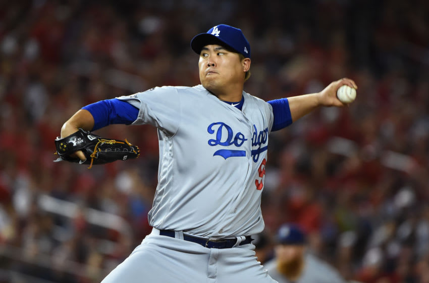 WASHINGTON, DC - OCTOBER 06: Pitcher Hyun-Jin Ryu #99 of the Los Angeles Dodgers delivers in the first inning of Game 3 of the NLDS against the Washington Nationals at Nationals Park on October 06, 2019 in Washington, DC. (Photo by Will Newton/Getty Images)