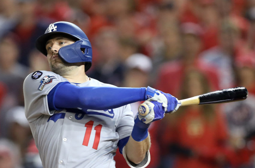 WASHINGTON, DC - OCTOBER 06: A.J. Pollock #11 of the Los Angeles Dodgers strikes out in the first inning of Game 3 of the NLDS against the Washington Nationals at Nationals Park on October 06, 2019 in Washington, DC. (Photo by Rob Carr/Getty Images)