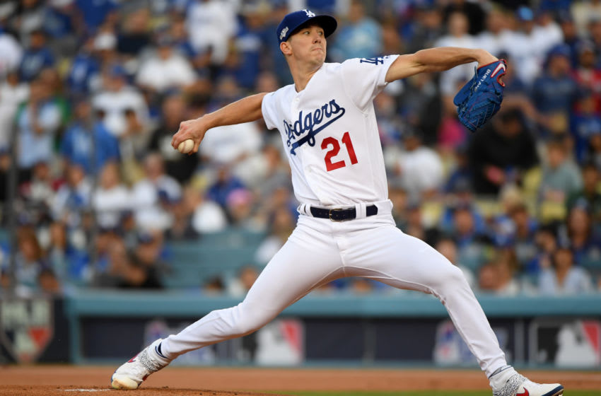 LOS ANGELES, CALIFORNIA - OCTOBER 09: Starting pitcher Walker Buehler #21 of the Los Angeles Dodgers delivers in the first inning of game five of the National League Division Series against the Washington Nationals at Dodger Stadium on October 09, 2019 in Los Angeles, California. (Photo by Harry How/Getty Images)