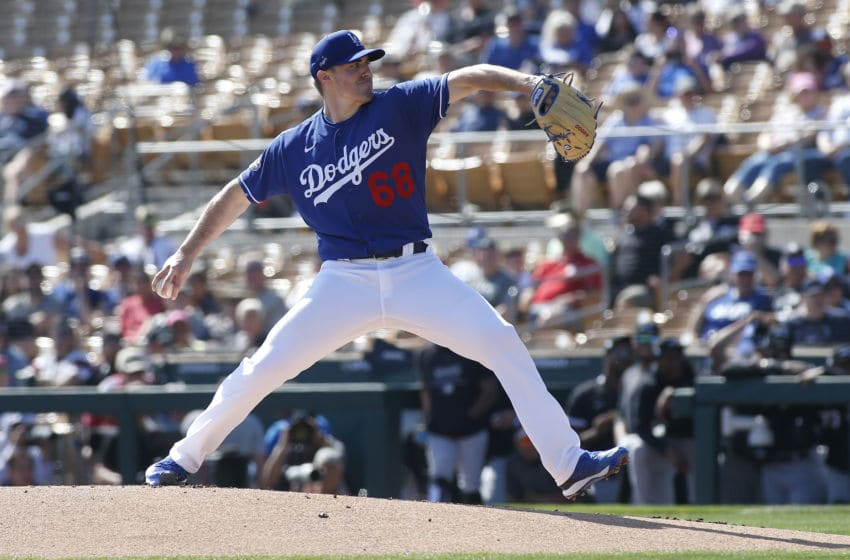 GLENDALE, ARIZONA - FEBRUARY 24: Pitcher Ross Stripling #68 of the Los Angeles Dodgers throws against the Chicago White Sox during a Cactus League spring training game at Camelback Ranch on February 24, 2020 in Glendale, Arizona. (Photo by Ralph Freso/Getty Images)