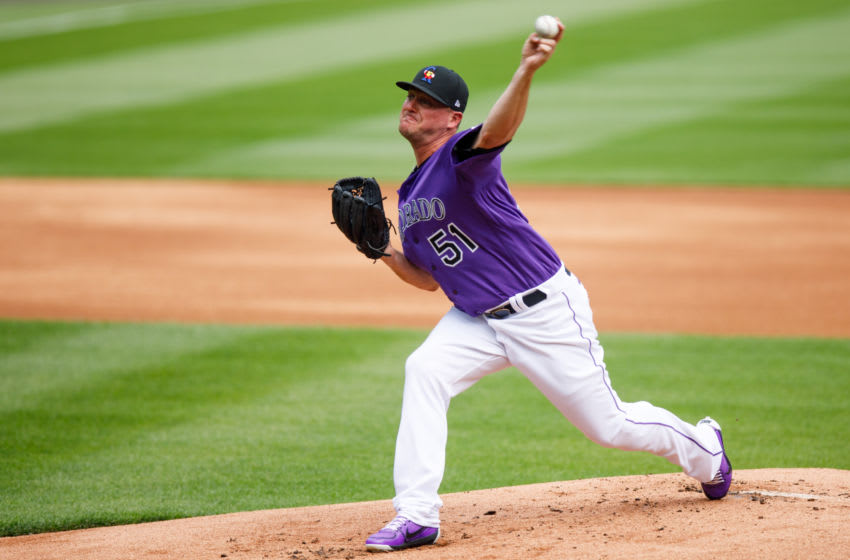 DENVER, CO - JULY 4: Jake McGee #51 of the Colorado Rockies pitches during Major League Baseball Summer Workouts at Coors Field on July 4, 2020 in Denver, Colorado. (Photo by Justin Edmonds/Getty Images)