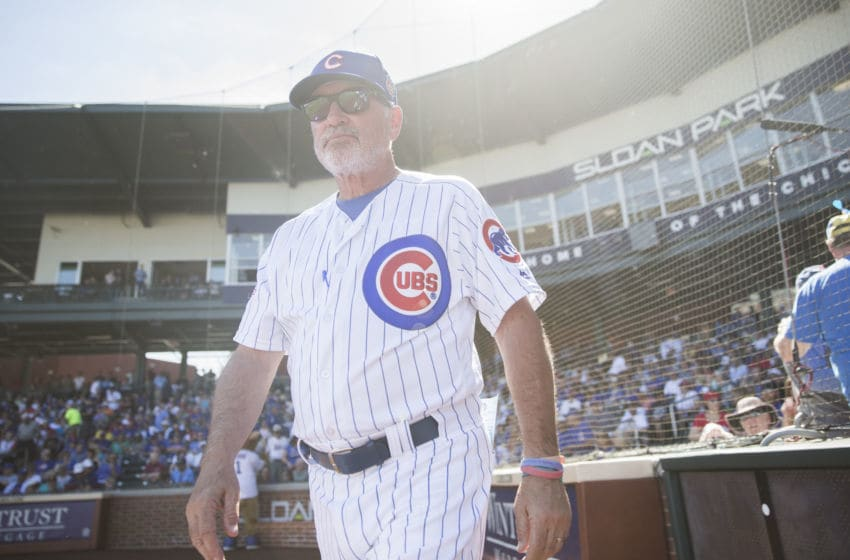 MESA, AZ - MARCH 4: Manager Joe Maddon of the Chicago Cubs looks on before the game against the Los Angeles Angels during a spring training game at Sloan Park on March 4, 2016 in Mesa, Arizona. (Photo by Rob Tringali/Getty Images)