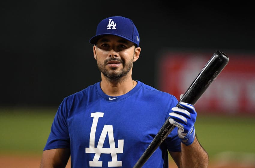 PHOENIX, AZ - OCTOBER 09: Andre Ethier #16 of the Los Angeles Dodgers prepares for game three of the National League Divisional Series against the Arizona Diamondbacks at Chase Field on October 9, 2017 in Phoenix, Arizona. (Photo by Norm Hall/Getty Images)