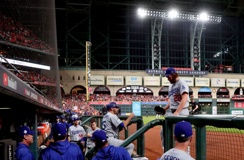 HOUSTON, TX - OCTOBER 29: Clayton Kershaw #22 of the Los Angeles Dodgers exits the game during the fifth inning against the Houston Astros in game five of the 2017 World Series at Minute Maid Park on October 29, 2017 in Houston, Texas. (Photo by Jamie Squire/Getty Images)