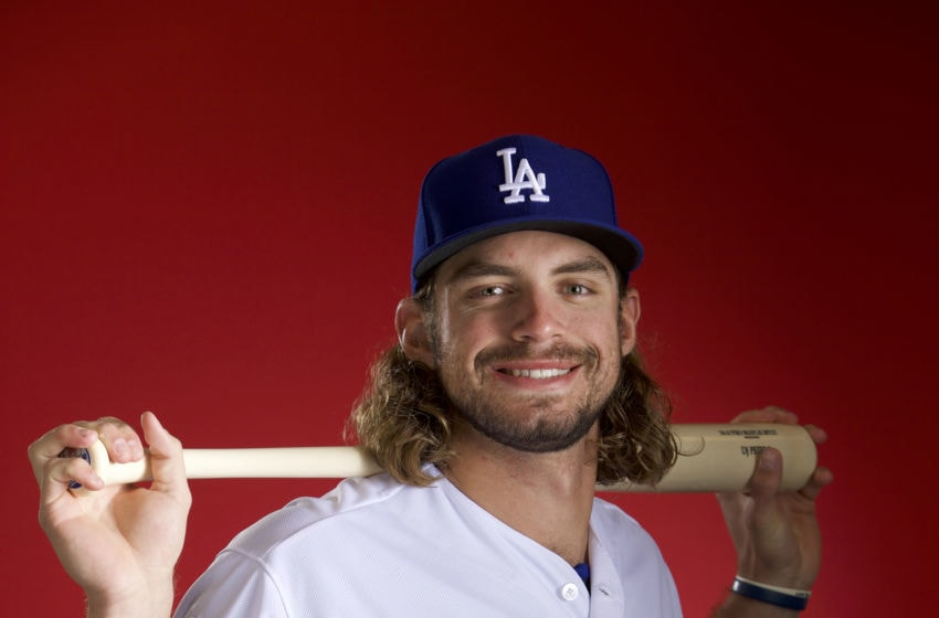 GLENDALE, AZ - FEBRUARY 22: DJ Peters #89 of the Los Angeles Dodgers poses during MLB Photo Day at Camelback Ranch- Glendale on February 22, 2018 in Glendale, Arizona. (Photo by Jamie Schwaberow/Getty Images)