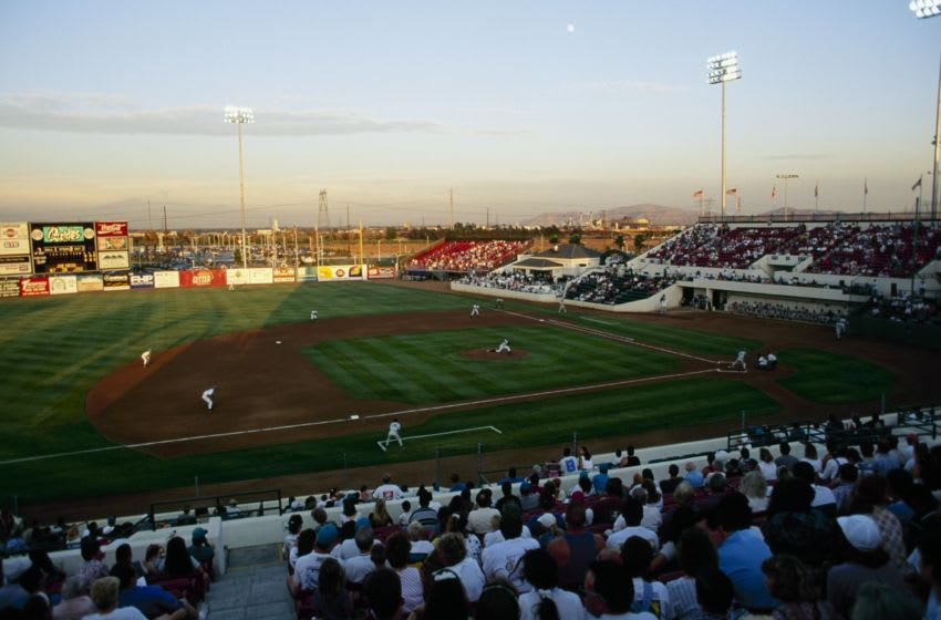RANCHO CUCAMONGA, CA - AUGUST 18: General view of The Epicenter during the Rancho Cucamonga Quakes game against the Lake Elsinore Storm on August 18, 1994 in Rancho Cucamonga, California. (Photo by J.D. Cuban/Getty Images)