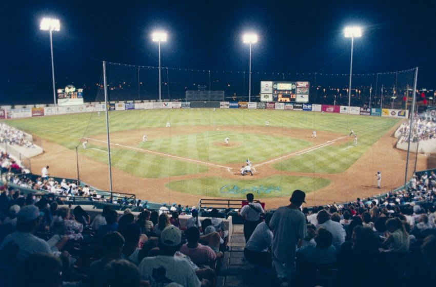 RANCHO CUCAMONGA, CA - AUGUST 18: A general view of the Rancho Cucamonga Quakes during a minor league game at Rancho Cucamonga Epicenter on August 8, 1994 in Rancho Cucamonga, California. (Photo by J.D. Cuban/Getty Images)