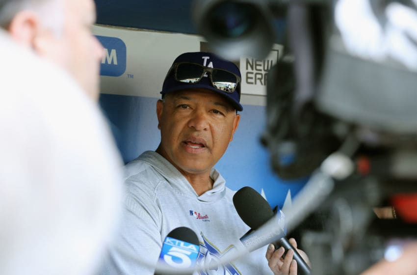 LOS ANGELES, CA - MAY 29: Manager Dave Roberts of the Los Angeles Dodgers speaks with the media prior to a game against the Philadelphia Phillies at Dodger Stadium on May 29, 2018 in Los Angeles, California. (Photo by Sean M. Haffey/Getty Images)