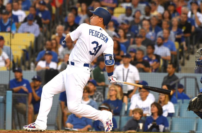 LOS ANGELES, CA - JUNE 27: Joc Pederson #31 of the Los Angeles Dodgers hits a two run home run in the second inning of the game off Kyle Hendricks #28 of the Chicago Cubs at Dodger Stadium on June 27, 2018 in Los Angeles, California. (Photo by Jayne Kamin-Oncea/Getty Images)
