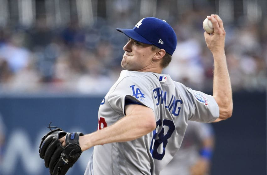 SAN DIEGO, CA - JULY 12: Ross Stripling #68 of the Los Angeles Dodgers pitches during the first inning of a baseball game against the San Diego Padres at PETCO Park on July 12, 2018 in San Diego, California. (Photo by Denis Poroy/Getty Images)