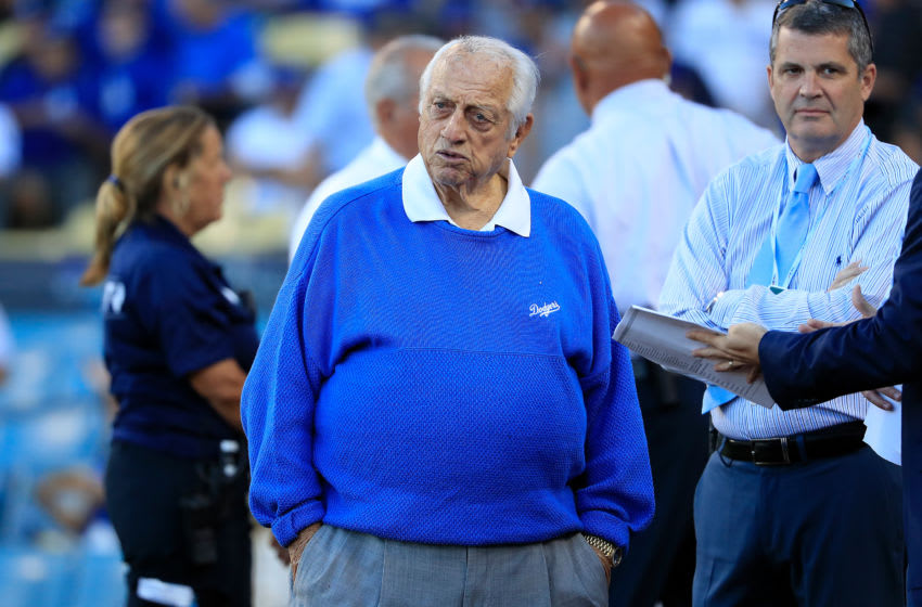 LOS ANGELES, CA - OCTOBER 04: Former MLB player and manager Tommy Lasorda looks on prior to Game One of the National League Division Series between the Los Angeles Dodgers and the Atlanta Braves at Dodger Stadium on October 4, 2018 in Los Angeles, California. (Photo by Sean M. Haffey/Getty Images)