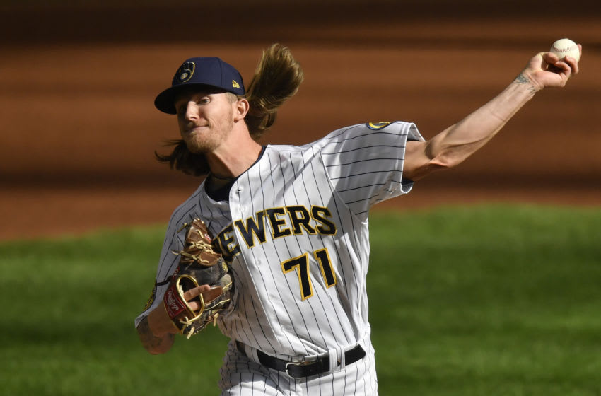 MILWAUKEE, WISCONSIN - SEPTEMBER 20: Josh Hader #71 of the Milwaukee Brewers pitches in the ninth inning against the Kansas City Royals at Miller Park on September 20, 2020 in Milwaukee, Wisconsin. (Photo by Quinn Harris/Getty Images)