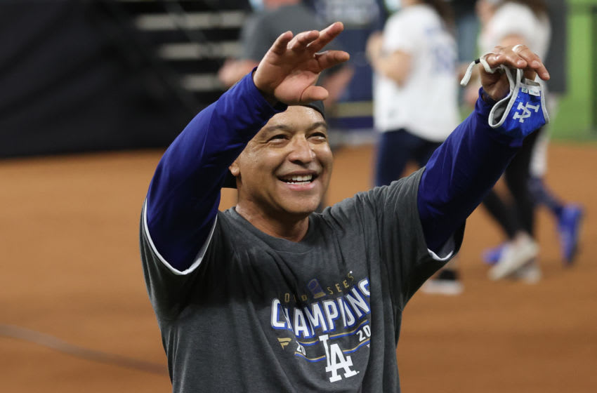 ARLINGTON, TEXAS - OCTOBER 27: Manager Dave Roberts of the Los Angeles Dodgers celebrates after defeating the Tampa Bay Rays 3-1 in Game Six to win the 2020 MLB World Series at Globe Life Field on October 27, 2020 in Arlington, Texas. (Photo by Rob Carr/Getty Images)