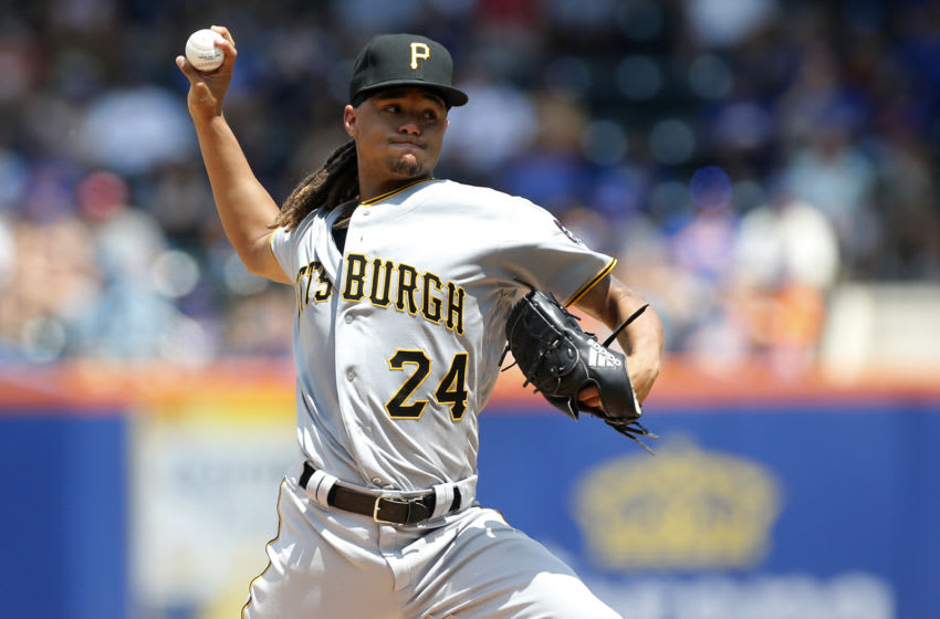 NEW YORK, NEW YORK - JULY 28: Chris Archer #24 of the Pittsburgh Pirates in action against the New York Mets at Citi Field on July 28, 2019 in New York City. The Mets defeated the Pirates 8-7. (Photo by Jim McIsaac/Getty Images)