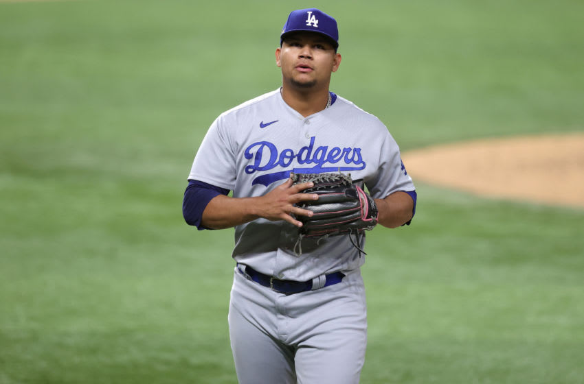 ARLINGTON, TEXAS - OCTOBER 15: Brusdar Graterol #48 of the Los Angeles Dodgers is taken out of the game against the Atlanta Braves during the sixth inning in Game Four of the National League Championship Series at Globe Life Field on October 15, 2020 in Arlington, Texas. (Photo by Tom Pennington/Getty Images)