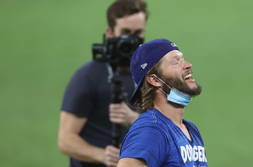ARLINGTON, TEXAS - OCTOBER 27: Clayton Kershaw #22 of the Los Angeles Dodgers celebrates defeating the Tampa Bay Rays 3-1 in Game Six to win the 2020 World Series at Globe Life Field on October 27, 2020 in Arlington, Texas. (Photo by Tom Pennington/Getty Images)