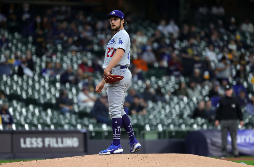 MILWAUKEE, WISCONSIN - APRIL 29: Trevor Bauer #27 of the Los Angeles Dodgers stands on the mound during the first inning against the Milwaukee Brewers at American Family Field on April 29, 2021 in Milwaukee, Wisconsin. (Photo by Stacy Revere/Getty Images)