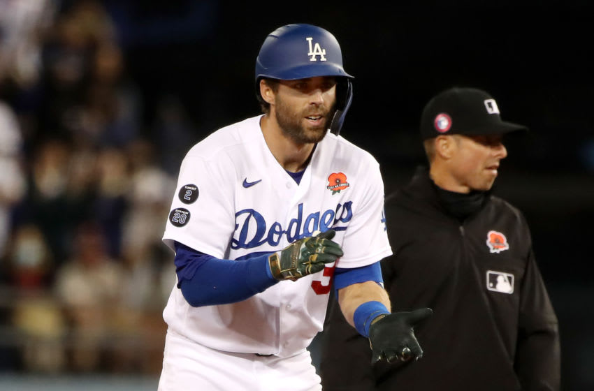 LOS ANGELES, CALIFORNIA - MAY 31: Chris Taylor #3 of the Los Angeles Dodgers celebrates his three RBI double during the sixth inning against the St. Louis Cardinals at Dodger Stadium on May 31, 2021 in Los Angeles, California. (Photo by Katelyn Mulcahy/Getty Images)