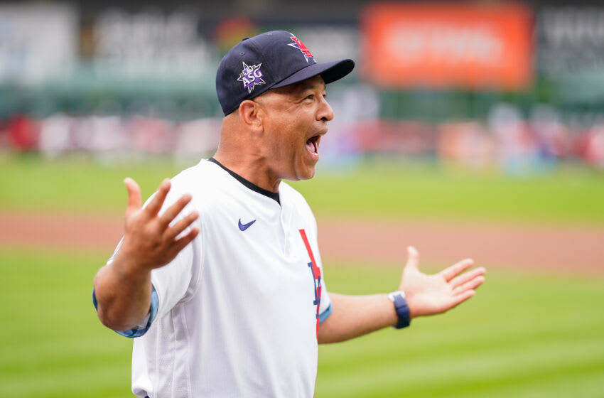 DENVER, COLORADO - JULY 13: National League All-Star manager Dave Roberts of the Los Angeles Dodgers smiles during introductions for the 91st MLB All-Star Game presented by Mastercard at Coors Field on July 13, 2021 in Denver, Colorado. (Photo by Matt Dirksen/Colorado Rockies/Getty Images)