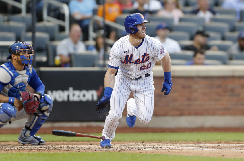 NEW YORK, NEW YORK - JUNE 15: (NEW YORK DAILIES OUT) Billy McKinney #60 of the New York Mets singles during the second inning against the Chicago Cubs at Citi Field on June 15, 2021 in New York City. The Mets defeated the Cubs 3-2. (Photo by Jim McIsaac/Getty Images)