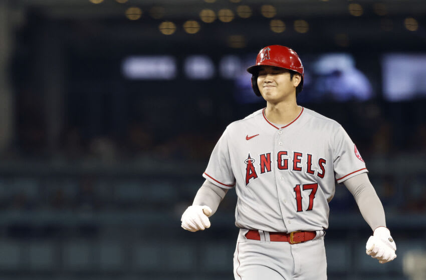 LOS ANGELES, CALIFORNIA - AUGUST 06: Shohei Ohtani #17 of the Los Angeles Angels reacts while on base against the Los Angeles Dodgers during the 10th inning at Dodger Stadium on August 06, 2021 in Los Angeles, California. (Photo by Michael Owens/Getty Images)
