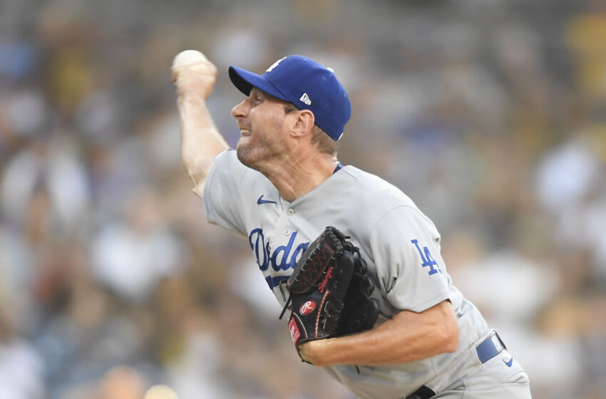 SAN DIEGO, CA - AUGUST 26: Max Scherzer #31 of the Los Angeles Dodgers pitches during the first inning of a baseball game against the San Diego Padres at Petco Park on August 26, 2021 in San Diego, California. (Photo by Denis Poroy/Getty Images)