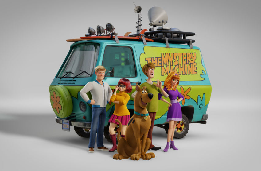 (L-r) Fred voiced by ZAC EFRON, Velma voiced by GINA RODRIGUEZ, Scooby-Doo voiced by FRANK WELKER, Shaggy voiced by WILL FORTE and Daphne voiced by AMANDA SEYFRIED in the new animated adventure